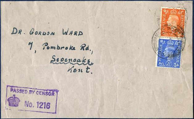 Piece from package, sent from FPO 304 and franked with 2d and 2 1/2d and sent to England, and censor 1216 stamped on front.