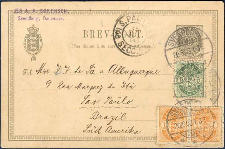 3 øre Postcard with additional franking of two 1 øre and 5 øre Coat of Arms issue sent from Copenhagen to Sao Paulo Brazil 20 June 1903. Scarce destination.