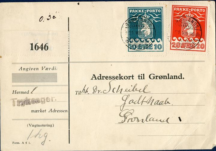 "Parcel letter bearing 10 øre (1928) and 20 øre (1933) Pakke-Porto stamps tied by CDS ""GRØNLANDS STYRELSE 21.VIII.36"". The parcel with label ""1646"" for sending 1 kg. of printed matter marked by 1-line mark ""Tryksager"". Scarcely found with shipment of printed matters."