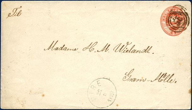4 Sk. Envelope SKILLLING KV5 (1871) sent from RIBE to Gram-Mølle, paying the favored border rate at 4 SK between RIBE and GRAM. RIBE Lapidar IIa-1 delivered 30.12.1870, known from 23.11.71 till 1878. ONLY RECORDED 4 SK STATIONERY ENVELOPE USED FOR THE BORDER RATE WITH SCHLESWIG.