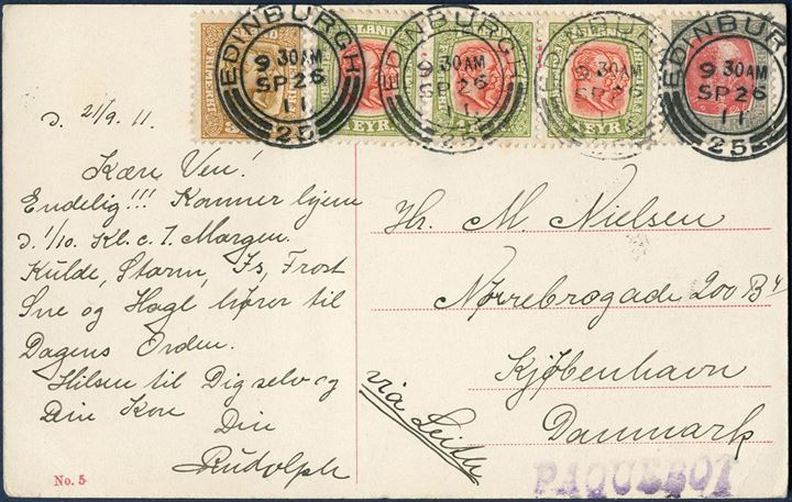 "Postcard sent from Iceland to Copenhagen via Edinburgh 21.9.1911, bearing mixed franking with 4 aur Chr. IX, 3 aur and three 1 eyr Two Kings issue, all neatly tied by two-ring ""Edinburgh"" no. 25, stamped 26.6.1911, alongside 1-line violet ""PAQUEBOT"" Hosking no. 7. 10 aur rate correct franking via England."
