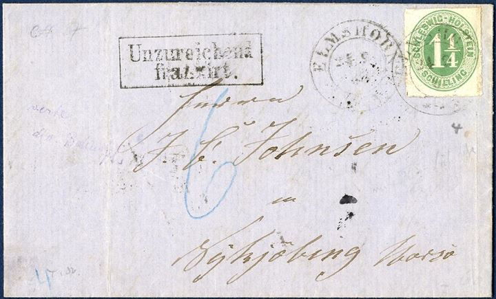"Letter from Elmshorn in Holstein to Nykjøbing Mors 24.9.1865 franked with a 1 1/4 Sch. Mi. 9, tied by two-ring Elmshorn 24.9.1865. From Holsten the rate was 2 Sch., underfranked and thus charged 6 Sk. Danish in blue crayon, and stamped boxed ""Unzureichend frankirt"". A very light bend in the stamp at right."