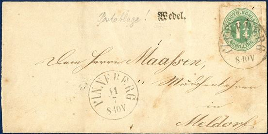 "Letter sent from Wedel through Pinneberg to Meldorf in Holsten stamped with ""Wedel"" 1-line mark, bearing 1 _ Sch. HERZOGHT.SCHLESWIG Mi. 4, cancelled with CDS ""PINNEBERG 11.7"" (1864). Stamp with defects, aged, certificate."
