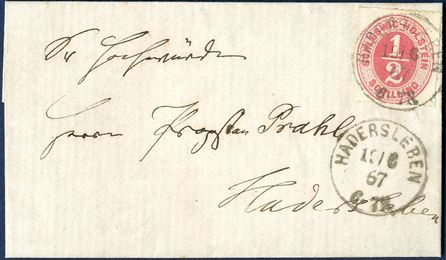 Local letter sent from Fjelstrup to Hadersleben 19 June 1867 bearing a 1/2 Sch. SCHLESWIG-HOLSTEIN 1865-issue in rose colour and tied by Prussian 1-ring. Local letters are scarce and this letter is in outstanding quality. Opinion.