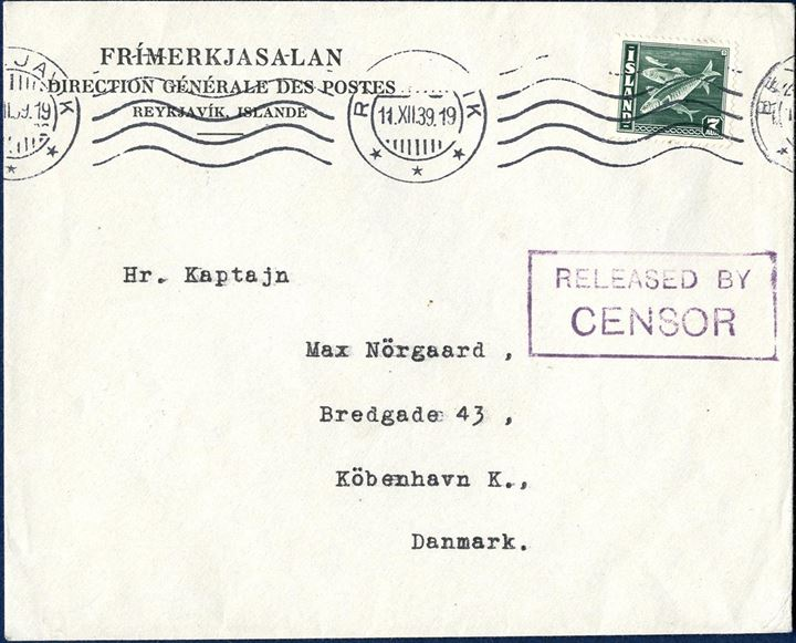 "Printed matter letter sent from Reykjavik to Copenhagen 11 Dec. 1939 bearing a 7 aur heering issue. This letter was sent with »Brúarfoss« or »Gullfoss« which anchored at Kirkwall as mailed was ceased and sent for censorship in Liverpool, where the letter received the boxed ""RELEASED BY CENSOR"", stamped on front and reverse. The letter is illustrade in Hopballe book page 125."