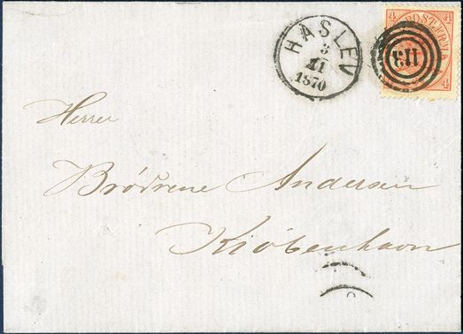 "Letter sent from Haslev to Copenhagen 3. November 1870 bearing a 4 sk. Arms type 1864-isssue tied by CDS Lap VIa-1 ""HASLEV 3.11.1870"" in black ink. Only recorded LAP VIa-1 Haslev on letter."