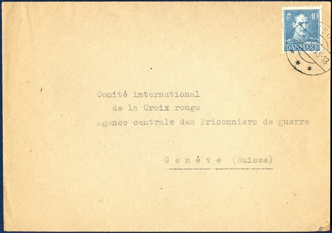 "Letter sent from Oksbøl to Geneve 3 October 1945, bearing one 40 øre Chr. X steel engraving issue, tied by CDS ""OKSBØL"" swiss type mark. Sent from the refugee camp ""Oksbøl"" and stamped on reverse with oval mark in blue ""St. C. L./LEJRCHEFEN/I OXBØL"" alongside line mark ""Censureret"" and censors signature."