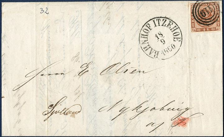 "Letter bearing a 4 sk. 1858 wavy-line spandrels tied by numeral 119 ""Itzehoe"" alongside ""Bahnhof Itzehoe"" CDS dated 18.9.1860 and sent to Nykjøbing P. Falster 18 September 1860, endorsed by the postal clerk ""Not in Nykjøbing p. Falster"" and then forwarded to Nykjøbing I Sjælland. Bureau mark on reverse ""Elmsh-Itzeh.Ebn.Post Bur: 18.9.1860"" CDS."