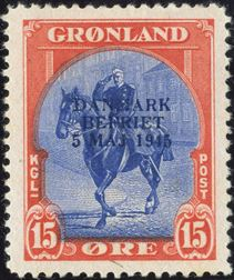 15 øre DANMARK BEFRIET with small overprint, hinged.