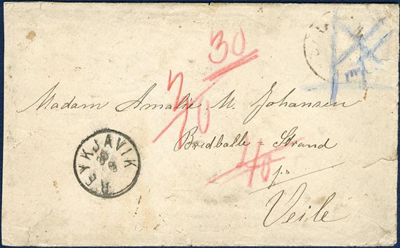 "Letter sent from Iceland, stamped Reykjavik 29 September (1893) to Vejle, Denmark. The adhesive has gone missing enroute to Denmark, then noted in blue crayon with a cross ""mgl"" meaning missing/mangler with Copenhagen transit mark and Vejle receiving mark on reverse. Charged 30 øre by the addresse, which likely is the 30 aur 2nd letter rate, some restoration to preserve an unusual letter from Iceland."