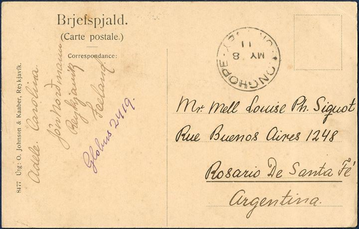 "Postcard sent from Reykjavik 2. May 1911 to Rosario de Santa Fé, Argentina. On picture side bearing a pair 3 aur and a 4 aur King Christian IX tied by ""Reykjavik 2.V.11"" CDS, transit mark ""LONGHOPE – ORKNEY MY 8 11"" on address side."