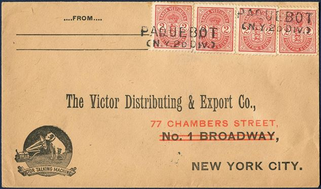 "Danish West Indies June 1904 to New York. Four 2¢ Coat-of-Arms issue (AFA 22) tied by ""PAQUEBOT / (N.Y.2D DIV), with receiving mark struck on reverse ""NEW YORK. N.Y. / 1904/ JUN 24 / 1-PM"". Foreign rate 8¢ from 1.1.1902 – 14.7.1905."