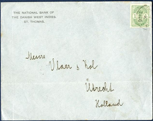 "PRINTED MATTER envelope St. Thomas 7 February 1905 to Utrecht, The Netherland. 1¢ Coat-of-Arms issue (AFA 16) tied with ""UTRECHT 24 FEB 05"" receiving mark on reverse. In this form as an envelope sent as printed matter is extremely rare. Rate 1¢ from 1.1.1902 – 14.7.1905."