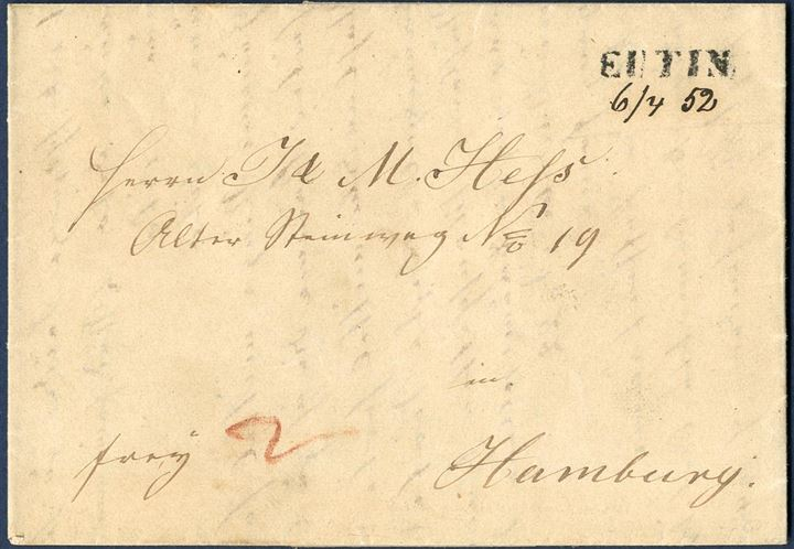 "Letter prepaid 2 Sch. Courant in cash (6 skilling Danish) sent from Eutin to Hamburg 6 April 1852 stamped ""EUTIN"" 1-line and dated in manuscript ""6/4 52"" below the mark. Postmark known from February 1850 till April 1852, this letter being the latest recorded use. Rare."