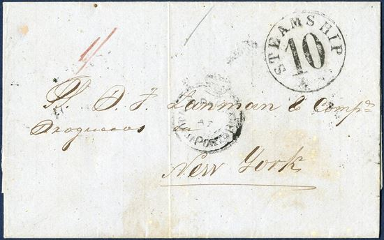 "Docketed St. Juan, Pto Rico 29 December 1853 via St. Thomas to New York. One 1/ paid and crowned circle struck ""PAID AT SAN JUAN PORTO RICO"" in black, via ""ST. THOMAS JA 15 1854"" on reverse, and ""STEAMPSHIP 10"" cents due at New York."