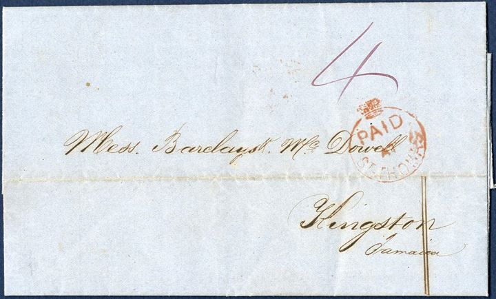 "Letter docketered St. Thomas 30 April 1863 to Kingston, Jamaica. Crowned 1-ring ""PAID AT ST. THOMAS"" in red struck on front and 4d paid to Jamaica. Double ring, small type ""ST. THOMAS MY 1 1863"" and 1-ring ""KINGSTON-JAMAICA MY 5 63"" struck on reverse."