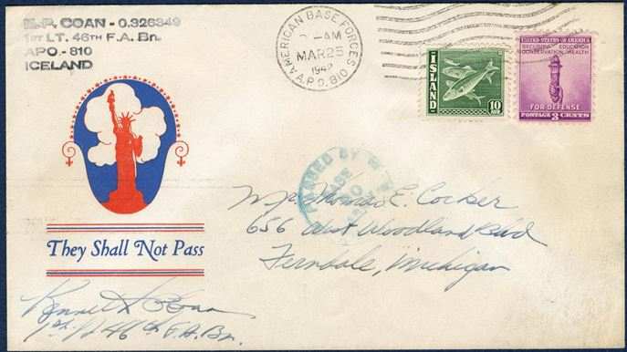 "Letter from APO 810, Iceland 25 March 1942 to Michigan, USA. Mixed franking with Icelandic 10 aur herrings and US 3¢, tied by machine cancel ""AMERICAN BASE FORCES / A.P.O. 810/ MAR25 / 1942"". Sent by K. P. Coan, 1st. LT. 46th F.A.Bn. Mixed frankings are unsual, although the Iceland stamp were superfluous."