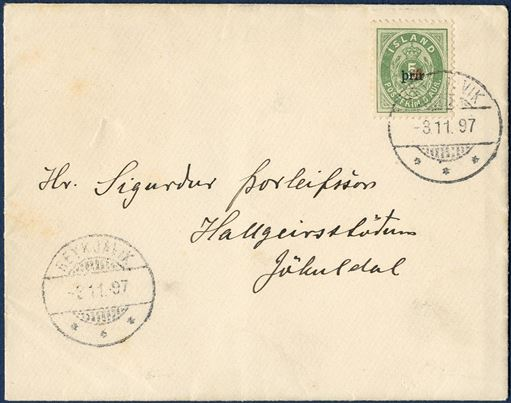 "Printed matter Reykjavik 3 November 1897 to Hallgeirsstödun, Jökuldal. ""3 Prir"" small overprint (AFA 18BI), tied by ""REYKJAVIK 3.11.97"". Commercial matter with a printed document inside the letter, genuinely used letters are extremely rare with Prir issues."