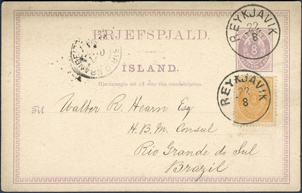 "Postal stationery Reykjavik 22 August 1894 to Rio Grande do Sul, Brasil. 8 aur stationery card uprated with 3 aur IV printing pale brown orange (AFA 12) tied by ""REYKJAVIK 22/8"" CDS. 2 aur stamp did not exist and inevitably overpaid by 1 eyr to pay for the 10 aur UPU rate for postal stationery. Three postal stationery recorded to Brazil, one 10 aur stationery card, one 5 aur stationery + 5 aur, and this splendid card and another card to Surinam. No letters sent to South America has been recorded."