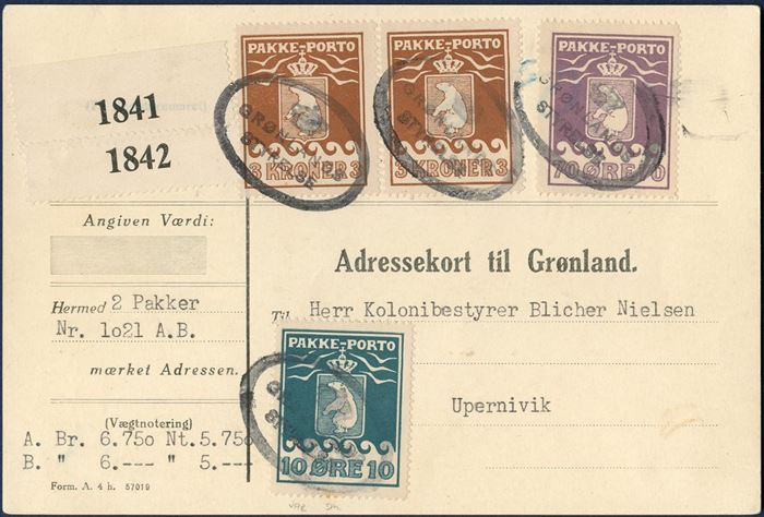 "Parcel card to Blicher Nielsen, Upernavik. One 10 øre 1915 IV printing, 70 øre and two 3 Kr. 1930-issue (AFA 7, 10, 12) tied by oval mark ""GRØNLANDS STYRELSE"" in black, GF1, no. 21.01). Two parcels weighing 6,75 and 6 kg., total postage 680 øre. Parcel card ""Form. Ah. 57019"" GF13."