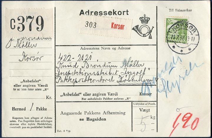 "Danish Adressekort from Korsør to ""Inspektionsskibet ""Ingolf"" in Greenland waters 23 July 1937 via Grønlands Styrelse. Danish rate 40 øre, rate to Greenland 3-5 kilo kr. 1,90 charged. Mail to the Military ships, should always be sent to Copenhagen's Letter/Parcel Office and from there sent to the ship, here via Grønlands Styrelse for transport to Greenland."