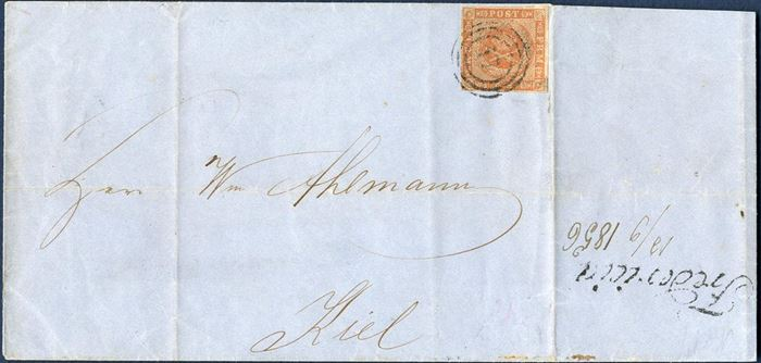 "Prepaid letter Fredericia 12 September 1856 to Kiel. 4 sk. 1854 dotted spandrels III printing tied by Fredericia numeral ""17"". Due to the absence of Fredericia date stamp, the office line mark ""Fredericia"" was stamped on reverse and date added ""12/9 1856"". Stamp with oxidation."