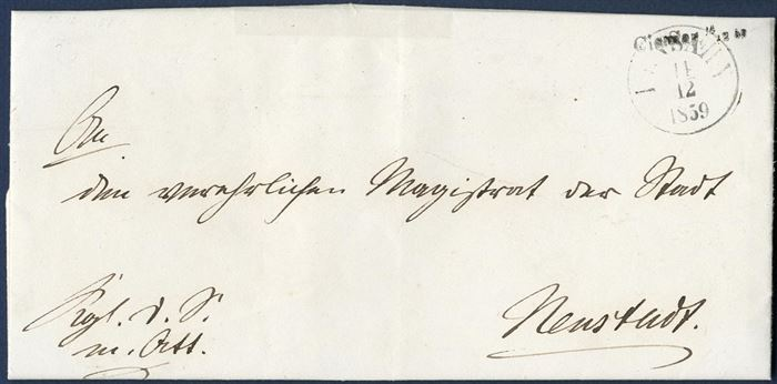 "Royal Service letter sent from Cismar to Neustadt 14 December 1859 with ""Cismar, 14/12 60"" 1-line mark applied on front alongside ""Lensahn"" CDS. ARGE type 6."