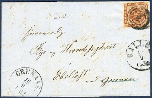 "Letter docketed Ballum, postmarked Ballum September 1862 sent to Ebeltoft v/Grenaae. 4 sk. V printing tied by numeral Ballum ""161"" and date-stamp ""BALLUM 1x/9 1862"" and transit mark ""GRENAAE 16/9 1862"", on reverse ""AABENRAA 14/9 4-6 EF""."