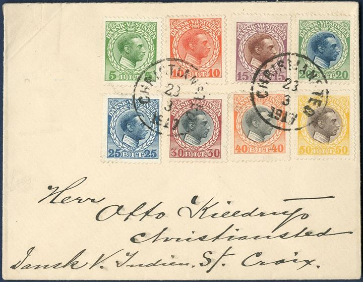 "Complete set of King Christian X bicolored issue on letterl tied by datestamp ""CHRISTIANSTED 23/ 3 1917"". Complete set on letter is rare."