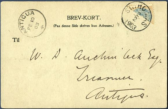 "Postcard St. Thomas 2 February 1903 to Antigua. 2¢ provisional bisected 4¢ tied by CDS ""ST. THOMAS 2/2 1903"" with receiving mark ""ANTIGUA FB 10/03"" on front. Unusual destination and rare type of private BREV-KORT."
