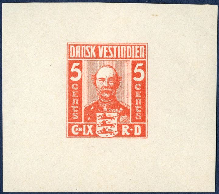 King Christian IX, imperforate colour essay, red colour with wide margins also to the right, with gum. Considered to be the work of Alfred Jacobsen.