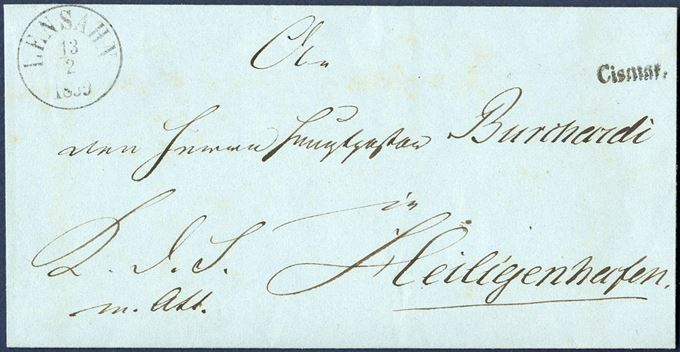 "Royal Service letter sent from Cismar to Heiligenhafen 13 February 1859 with ""Cismar"" 1-line mark applied on front alongside ""Lensahn"" CDS. ARGE type 5."