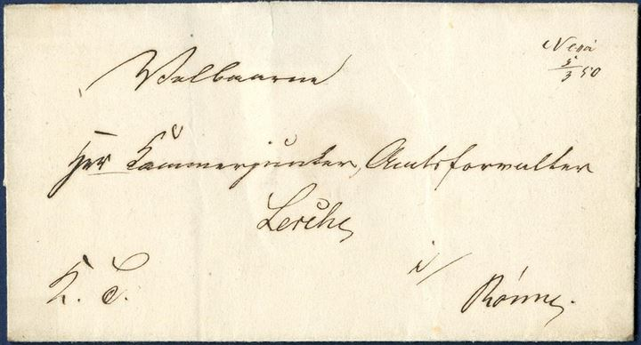 "Royal Service letter sheet sent from Nexøe to Rønne on 5 March 1850, with town manuscript ""Nexøe 5/3 50"". Scarce Bornholm postal pre-stamp marking."