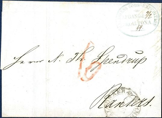 "Entire sent from Altona to Randers on 4 February 1854. Sent unpaid and charged ""6"" sk. due in red crayon, postmarked with railway mark ""ALTONAER BAHNHOF"" and stamped with the company mark ""P.A. v ASSENS GODS EXPEDITION / AFGANG d: / FRA ALTONA."" and which also has been recorded as a forwarder mark between Hamburg and Altona."
