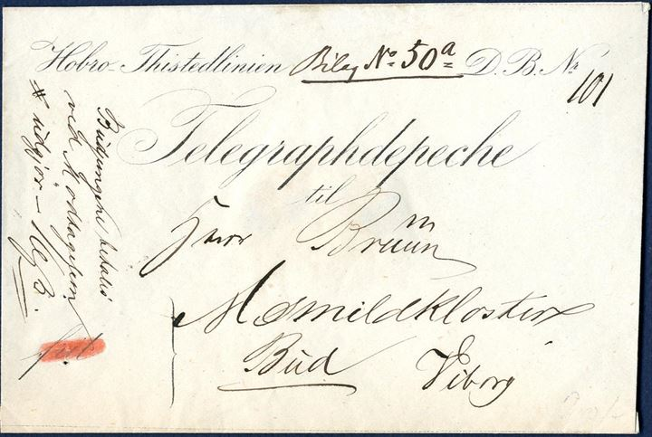 "Telegraph Depeche envelope sent with local messenger from the Viborg Telegraph Station on the Hobro-Thisted line. Endorsed ""Budpenge betales ved Modtagelsen #udgjør – 16 ß."" and pre-printed ""frit"" crossed out with red crayon, a rare and expensive local express service letter."