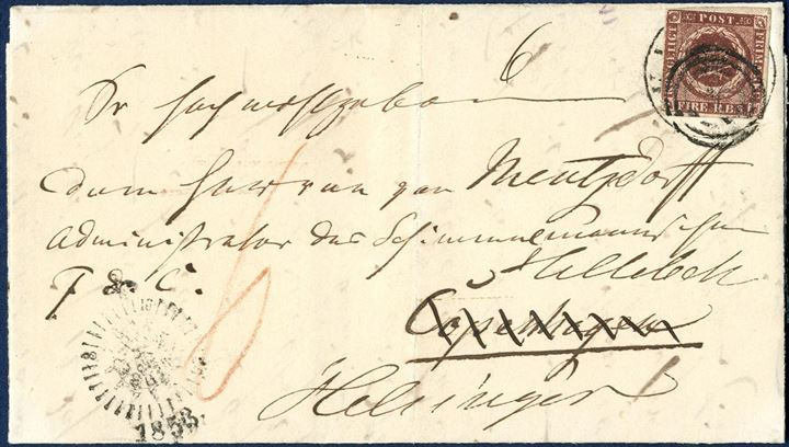 "Letter sheet originally sent from Kiel to Copenhagen on 13 September 1853, charged ""6"" sk. due in red crayon. In Copenhagen re-posted and sent to Helsingør on 14 September and affixed with a prominent plate-flaw of the 4 RBS Thiele I, plate I, pos. 1 (Hakmærket) tied by numeral 1 (Copenhagen) alongside letter-box mark ""Compass KB"" type. An interesting combination showing the unpaid rate of 6 sk. in cash either due or prepaid and the favored 4 RBS rate when affixed a postage stamp. Circular 3/1852. If a cover had been out of the care of the post office a new postage had to be paid again."